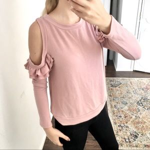 Jolie - cold shoulder ruffle blush sweatshirt